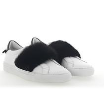 Slip-On Sneaker Leder weiss Nerz schwarz