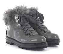 Stiefeletten Boots D71753 Lackleder Lammfell