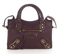 Schultertasche Handtasche CLASSIC MINI CITY Leder bordeaux Metallränder gold