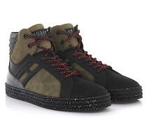 Sneakers High Rebel R141 Veloursleder Nubukleder schwarz