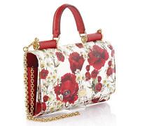 Dolce & Gabbana Handtasche Schultertasche Leder weiß rot geprägt Blumen Print
