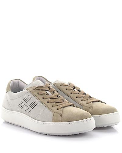 Hogan Herren Sneakers H302 Verloursleder grau perforiertes logo