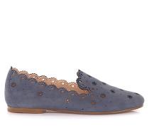 Loafer Kalbsleder perforiert Veloursleder