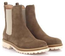 Stiefeletten Boots 7854 Veloursleder taupe Lyra-Lochung