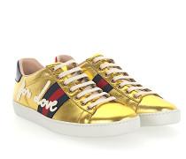Sneaker Nappaleder metallic Stickerei Web-Streifen