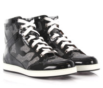 Sneakers High Tokyo Lackleder Camouflage Print silber Glitter Lame