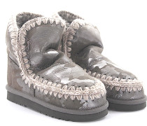 Stiefeletten Boots ESKIMO 18 Veloursleder caflage Stricknaht weiss grau Schafsfell