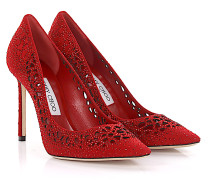 Pumps Romy 100 Veloursleder design-perforiert Strass