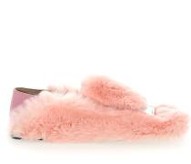 Slipper A77990 Kaninchenfell Metallspange rosa