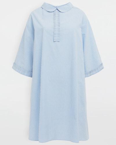 Wadenlanges Kleid Himmelblau Baumwolle