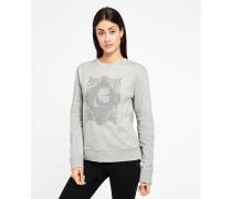 Besticktes Sweatshirt mit plissierter Rückenpartie