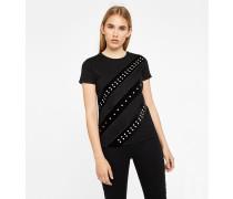T-Shirt mit Samt- und Perlendetails