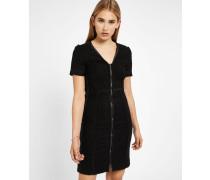 Glitzerndes schwarzes Bouclé-Kleid