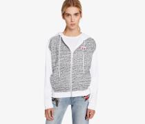 Kapuzensweatshirt aus Bouclé und Sweatstoff
