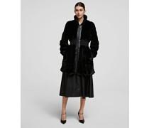Taillierter Mantel aus Kunstpelz mit Gerippter Taille