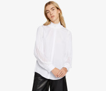 Plissierte Bluse aus Popelin- und Georgette-Stoff