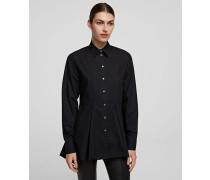 Besticktes Tunika-hemd aus Popeline mit Peplum