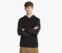 Kapuzen-Sweatshirt aus Material-Mix