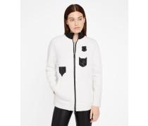 Sweatshirt mit Aufnäher und Reißverschluss