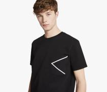T-Shirt aus Material-Mix mit Kontrast-Detail