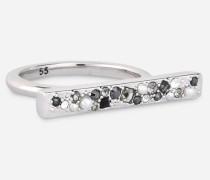 Ring mit kristallbesetztem Steg