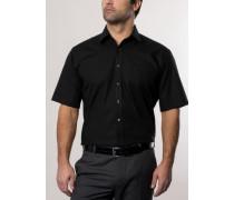 Comfort Fit Uni Popeline Kurzarmhemd schwarz