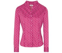 LANGARM BLUSE MODERN CLASSIC SLIM FIT SATINBINDUNG PINK/WEISS