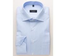 Comfort FIT Langarmhemd hellblau-weiss gestreift