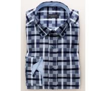Comfort FIT Langarmhemd Blau Kariert