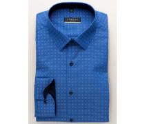 Super Slim Langarmhemd Blau Kariert