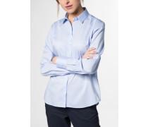Langarm Bluse Modern Classic Stretch Hellblau Unifarben