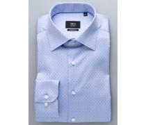 Comfort FIT Premium Langarmhemd blau strukturiert