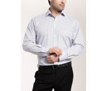 Comfort FIT Langarmhemd grau-braun kariert