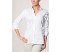 Dreiviertelarm Bluse Modern Classic Weiss Unifarben