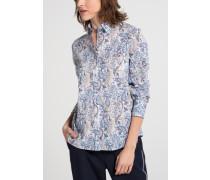Langarm Bluse Modern Classic Blau Bedruckt
