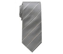 Seidenkrawatte grau gestreift 7,5cm