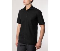 Modern Fit Uni Popeline Kurzarmhemd schwarz