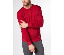 Strickpullover mit Rundhals Ausschnitt rot unifarben