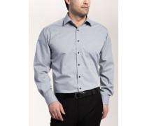 Comfort FIT Langarmhemd grau gemustert