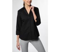 Dreiviertelarm Bluse Modern Classic Stretch Schwarz Unifarben