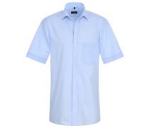 Modern Fit Uni Popeline Kurzarmhemd hellblau