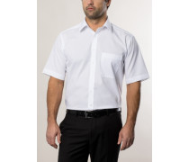 Comfort Fit Uni Popeline Kurzarmhemd weiss