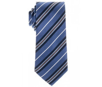 Seidenkrawatte Blau Gestreift 7,5 cm