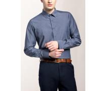 Slim FIT Langarmhemd blau gemustert
