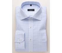 Comfort FIT Langarmhemd weiss/blau kariert