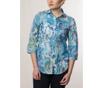 Comfort fit Dreiviertelarm-Bluse blau gemustert