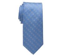 Seidenkrawatte blau bedruckt 7,5cm