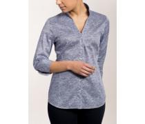 Comfort FIT Dreiviertelarm-Bluse blau/weiss bedruckt