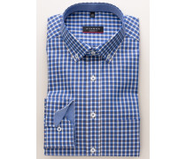 Modern FIT Langarmhemd blau kariert