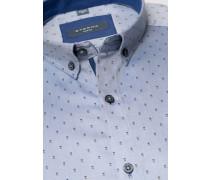 Langarm Hemd Slim FIT Oxford jeansblau bedruckt